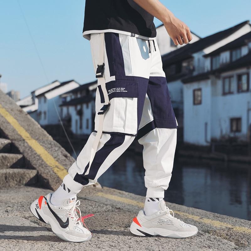 Men's Multi Pockets Cargo Harem Pants Hip Hop Casual Male Track Pants Joggers Trousers Fashion Harajuku Hipster Streetwear Pants
