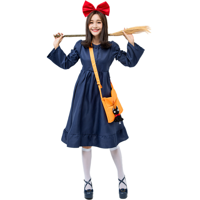 Japanese Women Kiki's Delivery Service Cosplay Costume Suit Witch Halloween Costumes For Women Fancy Adult Female Dress 4PCS/SET