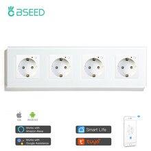 BSEED Wi-Fi настенная розетка стандарта ЕС 4 комплекта контактных гнезд 16A 110V-250V белого и черного цвета с золотыми из хрустального стекла Панель П...