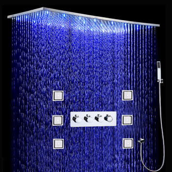 Bathroom LED Shower Set 500x1000MM Ceiling Large Rain Shower Head Panel Thermostatic Shower Faucets With Massage Body Jets Set led shower head set mist rain waterfall ceiling mounted shower faucets thermostatic mixing valve showers 304 stainless steel