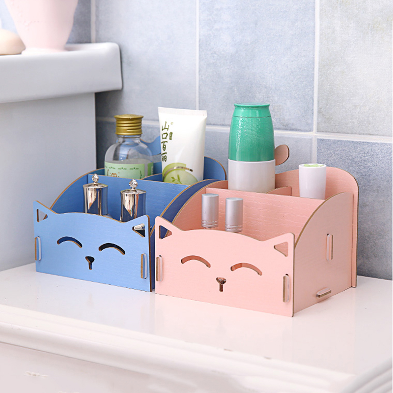 DIY Desktop Printing Wood Cosmetic Storage Box For Striped Jewelry Wooden Organizer Creative Multifunction Drawer Storage Box