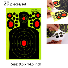 20 pieces Shooting Targets Human Body Shape Adhesive Splatter Reactive Paper for Rifle Pistol Airsoft Pellet Shoot