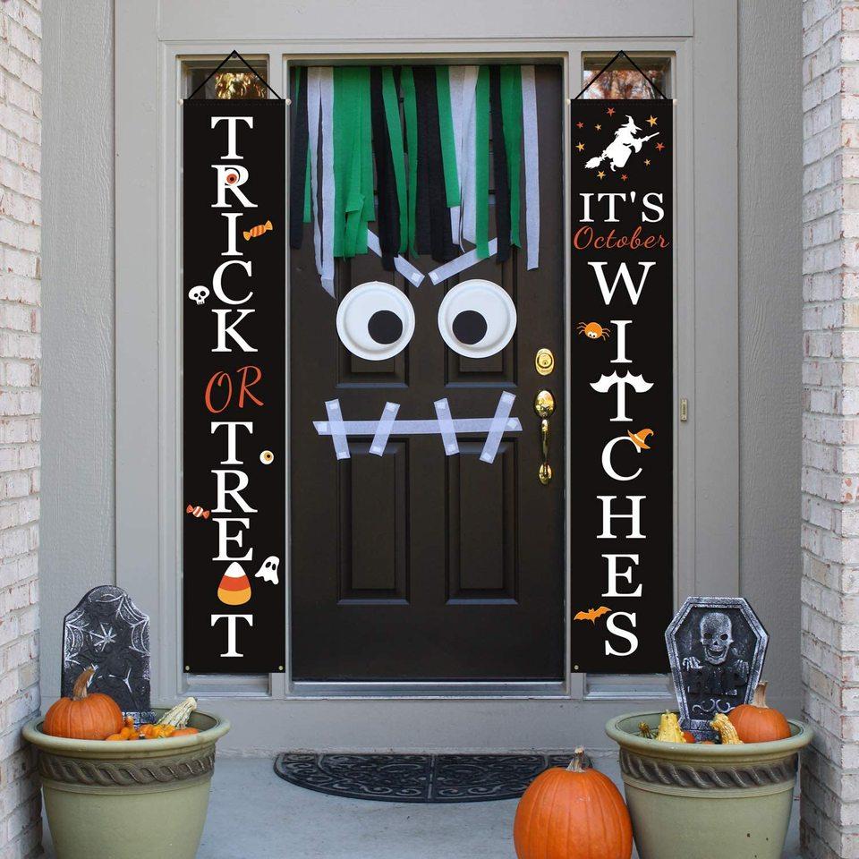 Halloween Dekoration Outdoor Trick Oder Behandeln Und Halloween Willkommen Zeichen Verziert Mit Oktober Hexe Front Tur Party Diy Dekorationen Aliexpress