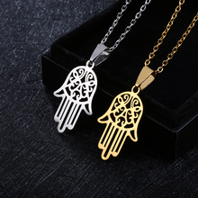 New Stainless Steel Open Hamsa Hand Necklaces for Women Light silver Color Hamesh Jewelry of Fatima Pendant Arab