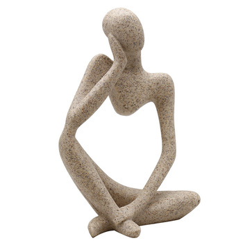 Abstract Resin Statue Yoga Thinkers Handmade Sculpture Decoration 4
