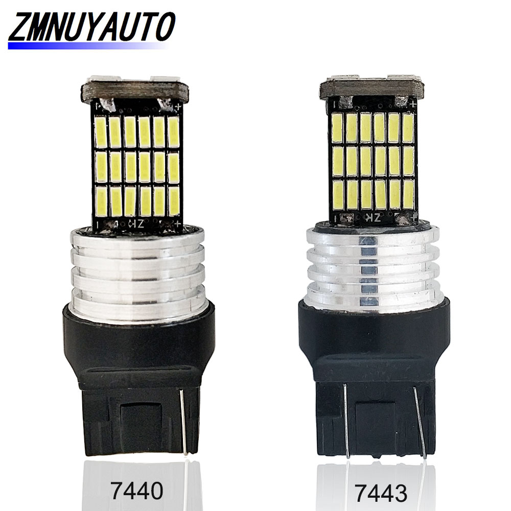 <font><b>T20</b></font> <font><b>LED</b></font> W21W W21/5W Bulbs 12V 7440 7443 45SMD 4014 Auto Turn Signal Reverse Light Car Lamps White <font><b>Red</b></font> Yellow image