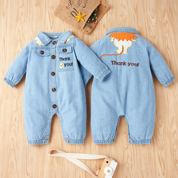 PatPat New Arrival Autumn and Spring Baby Denim Letter Jumpsuit Girl Boy Clothing