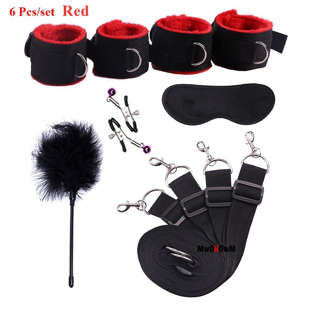 BDSM Bondage Set Under Bed Erotic Restraint Handcuffs & Ankle Cuffs