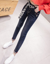 JUJULAND woman pencil pants casual high waiste blue sashes  jeans skinny jeans with  a belt 2926