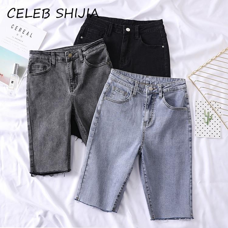 2020 New Summer Half Short Jeans Woman High Waist Elastic Light Blue Black Solid Straight Short Denim Pants Woman Chic Korean