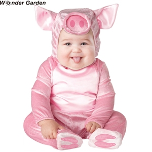 Maravilha jardim infantil da criança do bebê meninas rosa piggy halloween trajes cosplay natal purim férias vestir-se macacão