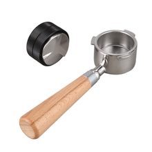 FILTER-BASKET Espresso-Machine Wooden-Handle Bottomless 51mm with Powder-Compactor Stainless-Steel