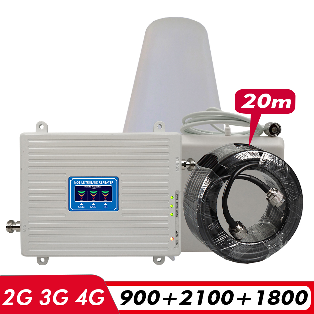 2G 3G 4G Tri-Band Repeater GSM 900MHz+DCS/LTE 1800(B 3)+UMTS/WCDMA 2100(B1) Mobile Signal Booster Cellular Amplifier Antenna Set