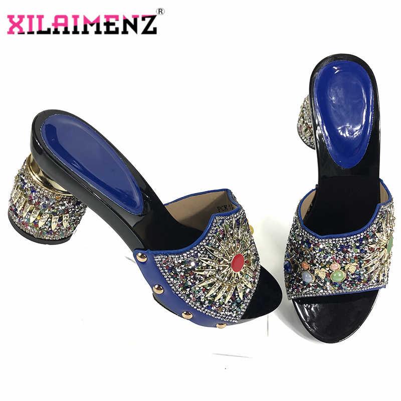 Royal Blue Colore Classing Stile e Nuovo Arriival Peep Toe Partito Africano Scarpe senza Tacchi Speciale di trasporto libero per la Cerimonia Nuziale