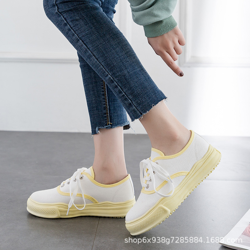 2019 Summer New Style Candy-Colored South Korea Biscuit Shoes Korean-style Low Top Versatile Canvas Shoes Women's White Shoes Bo