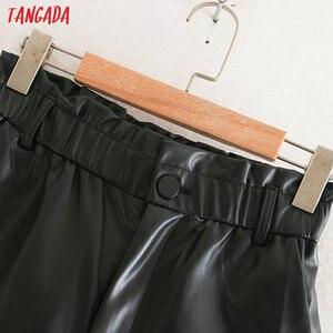 Tangada women pleated high waist black PU leather harm pants female 2019 autumn winter vintage faux leather trousers 2W105