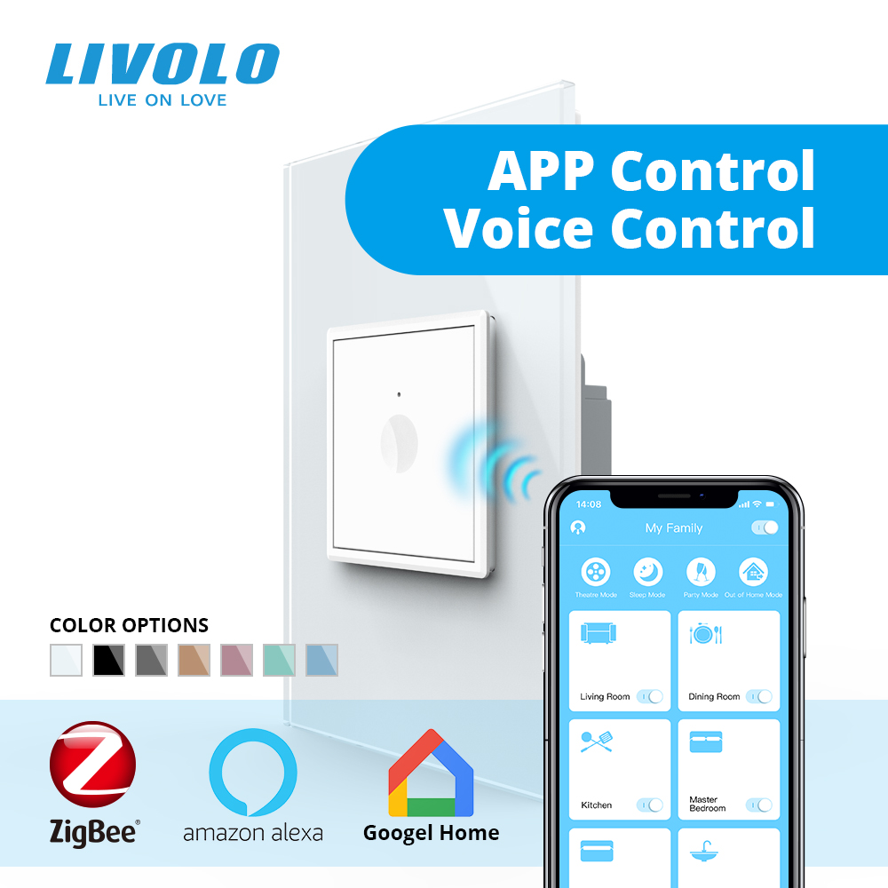 Livolo US AU Standard 45mm New Series Wall Smart Wifi App Touch Switch,wifi Phone Touch Control ,aleax,google Home ,plastic Key