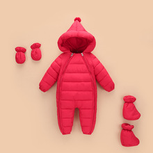2019 Winter Baby Boy Girl Clothes New Born Hooded Rompers Thick Cotton Outfit Ne