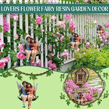 Amantes flowerfairy balanço resina do jardim ao ar livre decoração resina pingente escultura ao ar livre casa decoração interior figurinhas