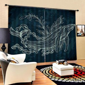 Custom Curtain Decoration 3D Brief Abstract drawing lines Dolphins Curtains For Bedroom Living room Polyester Room Curtain