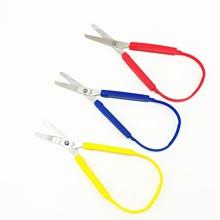 Tesoura de laço para crianças adolescentes adultos colorido looped, mini fácil aperto scissor design adaptativo de corte para mãos pequenas, 8 polegadas