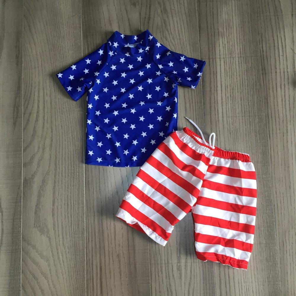 Boys July 4th Swimsuit Children Blue Stars Top With Stripe Pants Independence Day Bathing Suit