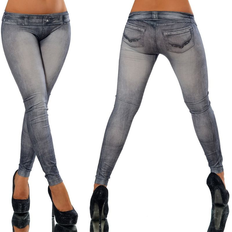 Woman Jeans Vintage Wash Color Denim Print Leggings Low Rise Stretchy Pencil Pants Seamless Ankle Length Skinny Fake Tights