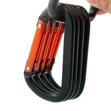 5 шт. алюминиевый Aolloy карабин Каттл Пряжка Открытый Кемпинг Clmbing 8D заклепки Приплюснутые брелок сумка Пряжка рыболовный инструмент
