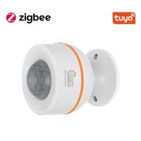 Tuya-Sensor de movimiento inteligente PIR Zigbee con sensor de temperatura y humedad, alimentado por batería o carga USB, funciona con Hub TUYA