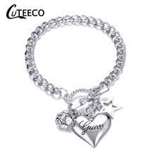 Cuteeco Fashion Exquisite Charm Polishing Crystal Gold Sliver Rose Wrist Bracelet Trendy Heart Metal Cuff Dropship