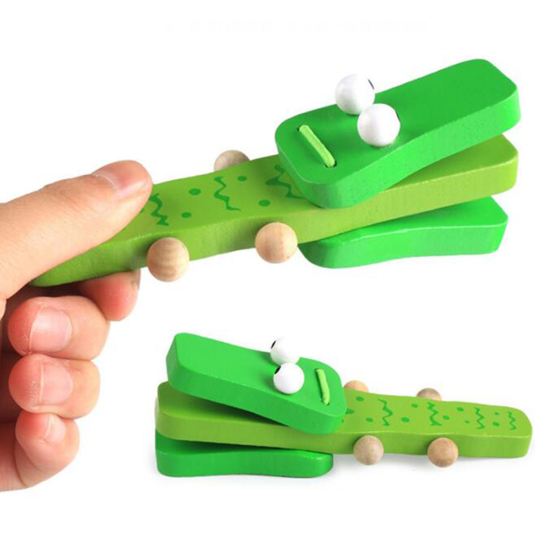 Crocodile Alligator Toy Wooden Castanets Percussion Hand Clapper Kids Toys Educational Musical Instruments For Children