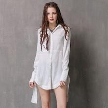 Autumn dress new cotton and hemp retro long sleeve jacket, irregular large shirt with lapel, original womens 2019