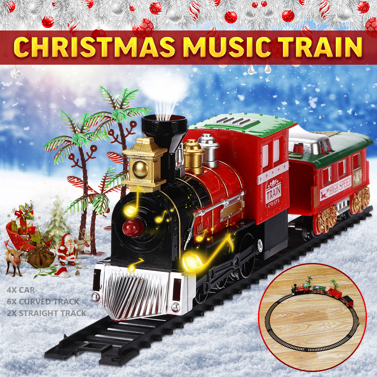 Christmas Musical Light Train Trees Box Carriage Kid Toy Ornament Decor Gift Light Music Toy Set