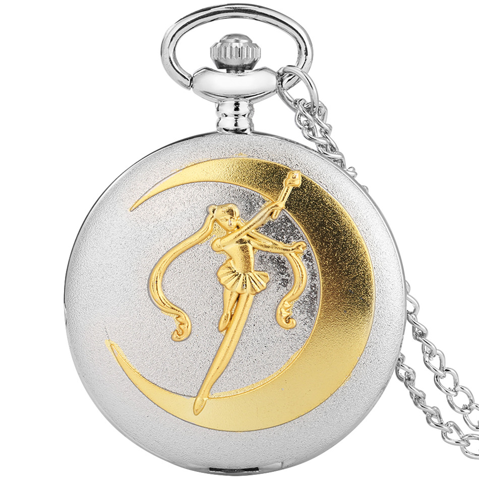 Silver Gold Pocket Watch Necklace Pendant Watches Fob Chain Pocket Clock Gifts for Student Girls