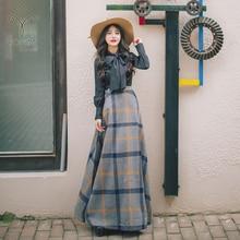 YOSIMI, Осень-зима, блуза с длинным рукавом и бантом, рубашка, Топ и шерстяная клетчатая юбка, комплект одежды из двух предметов, женские платья