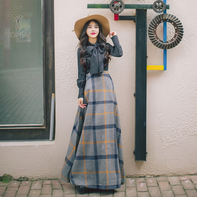 YOSIMI 2019 Autumn Winter Bow Neck Full Sleeve Blouse Shirt Top And Woolen Plaid Skirt Two-piece Outfits Set Suit Women Dresses