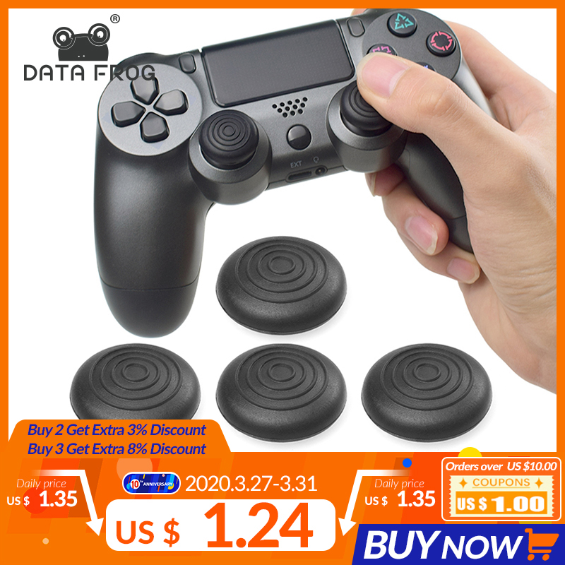 DATA FROG 4Pcs Silicone Analog Thumb Sticks Caps Thumb Grips For PS4/Xbox One 360/PS3 Controller Thumb Stick Covers Rubber Pads