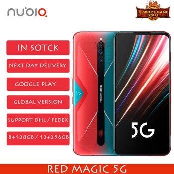 Перейти на Алиэкспресс и купить 2020 Новый Nubia Red Magic 5G глобальная версия игрового телефона Snapdragon 865 8/12 ГБ ОЗУ 128/256 Гб ПЗУ 144 Гц Частота обновления смартфона
