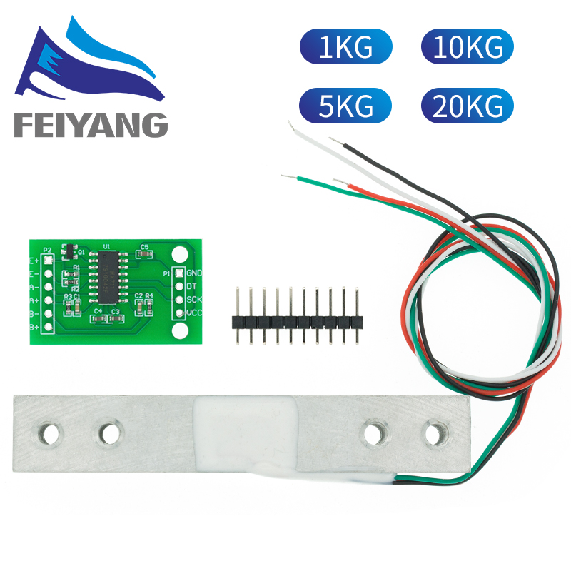 Cellule de charge 1KG 5KG 10KG 20KG HX711 AD Module capteur de poids balance électronique en alliage d'aluminium capteur de pression de pesage