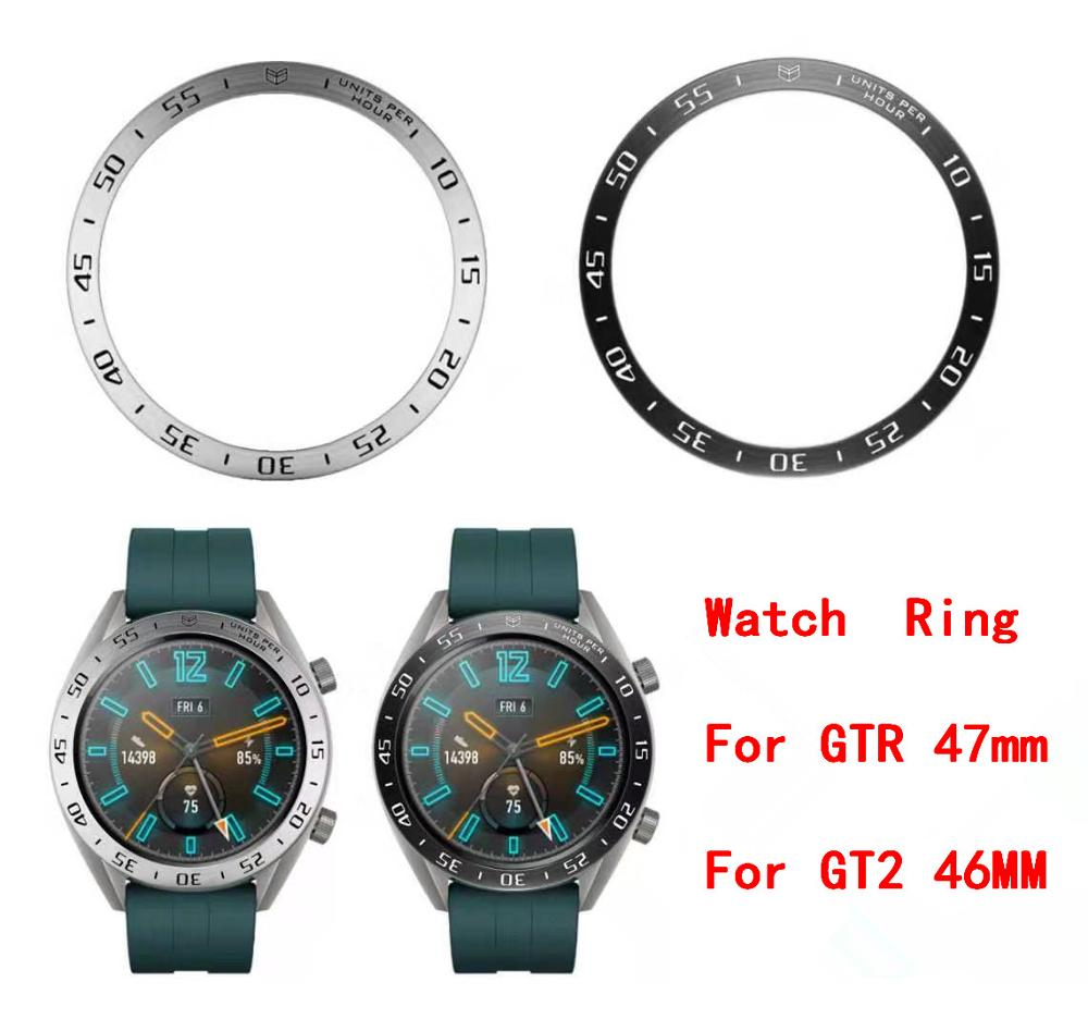 For Huami Amazfit GTR 47mm / For Huawei Watch GT2 46MM Watch Bezel Ring Adhesive Cover Anti Scratch Metal Case Frame GT 2 #1211