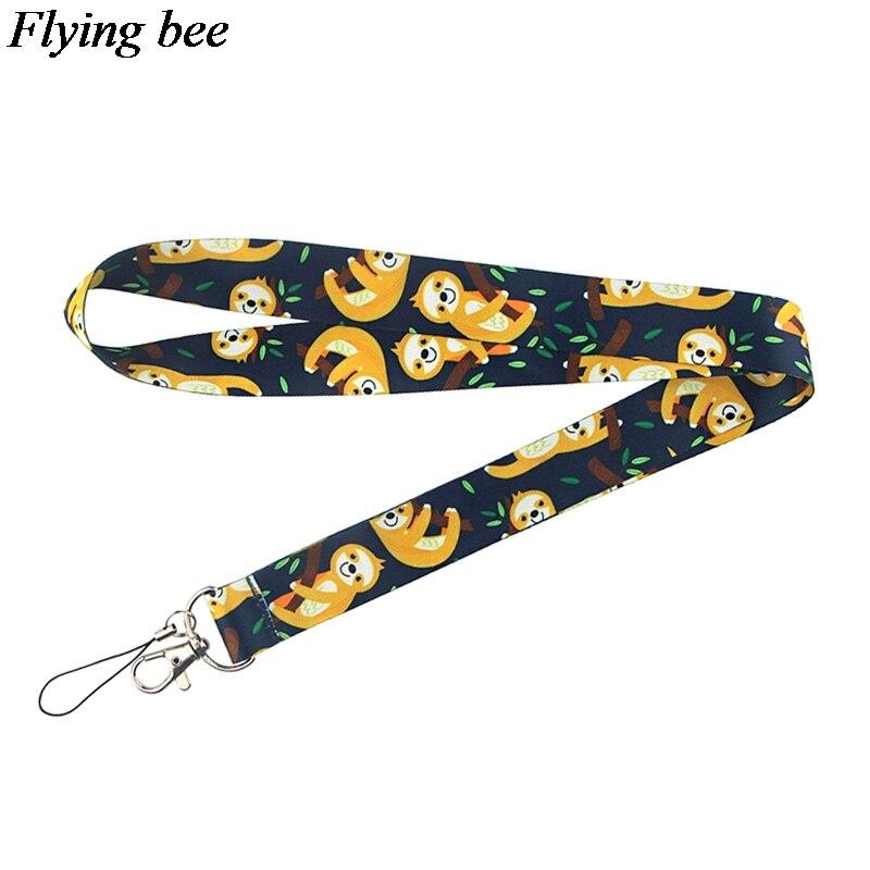 Flyingbee Sloth Animal Keychain Cartoon Cute Phone Lanyard Women Fashion Strap Neck Lanyards For ID Card Phone Keys X0732