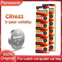 10 pçs 100% original panasonic cr1632 cr 1632 3v bateria de lítio para relógio calculadora relógio de controle remoto brinquedos botão moeda célula