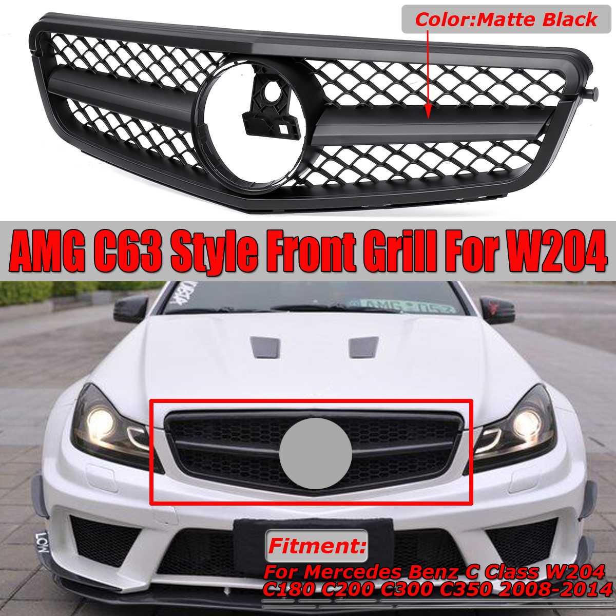 New C63 For AMG Style Car Front Grille Grill For <font><b>Mercedes</b></font> For Benz C Class W204 C180 C200 <font><b>C300</b></font> C350 2008-2014 Racing Grills image