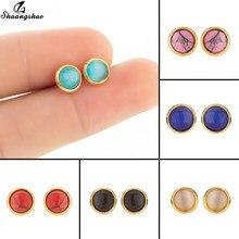 Boucles d'oreilles multicolores en acier inoxydable pour femmes, Petite boucle d'oreille ronde en pierre créée, bijou de rencontre féminin