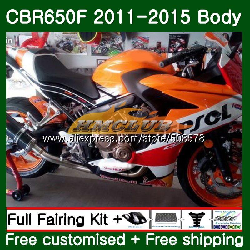 CBR-650F Pour HONDA CBR 650F 650 F 2011 2012 2013 2014 2015 130CL. 23 CBR650 F CBR-650 CBR650F 11 12 13 14 15 Top orange Carénage