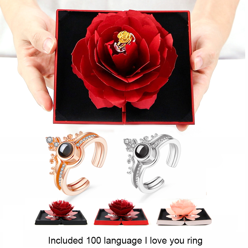 Surprised Wedding Marriage Rotating Rose Love Ring Gift Box Lovely Velvet Engagement Box For Ring Jewelry Storage Display Holder