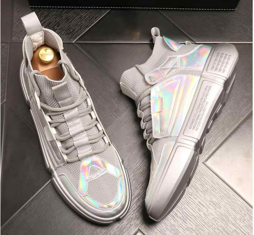 2020 חדש אופנה עבה בלעדי פלטפורמת סניקרס גברים לגפר נעלי גבר זהב צבע שמנמן נעלי גברים מאמני רך נעליים