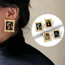 Винтажные золотые геометрические серьги для девушки с жемчугом