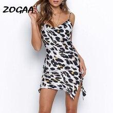 ZOGAA Spaghetti Straps Leopard Print Hollow Out High Waist Bodycon Sexy Mini Dress 2019 Autumn Women Sleeveless Party Clothes