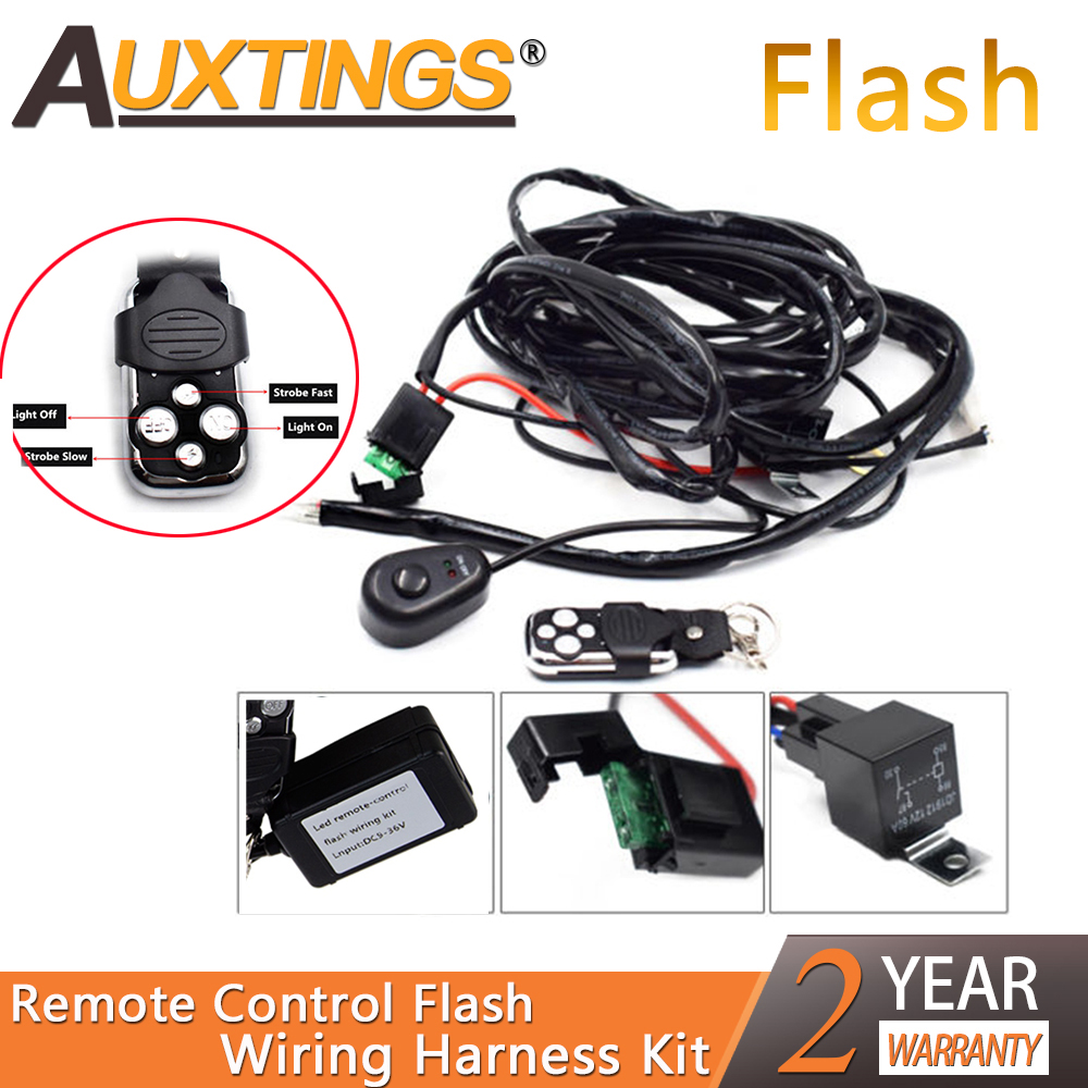 Auxting Remote Control Wiring Harness Kit 40A 12V DC for 120/240/300W LED Light Flash Strobe 1Lead work Light Wiring Harness Kit